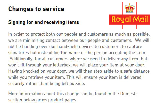 Royal Mail Update