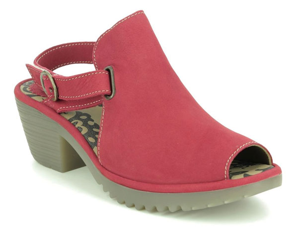 Fly London Wena Red Nubuck Heeled Sandals for Bunions