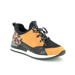Remonte Yellow Leopard Print Trainers
