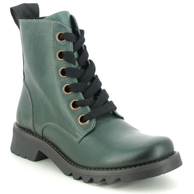Fly London Ragi Petrol Leather Green Lace Up Boots