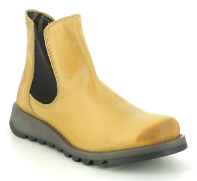 Fly London Salv Yellow Leather Chelsea Boots