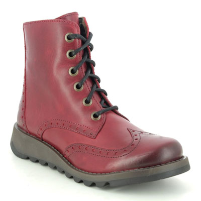 Fly London Sarl Red Leather Lace Up Boots