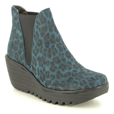 Fly London Yoss Navy Suede Leopard Print Wedge Boots