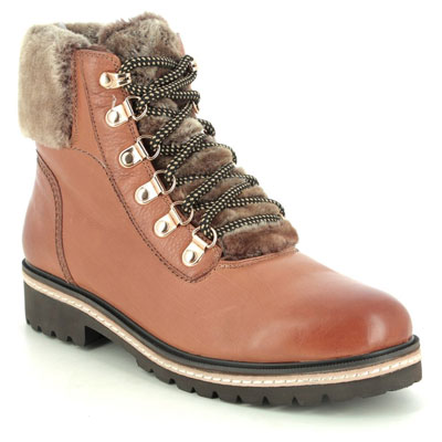 Regarde Le Ciel Brandy 01 Tan Leather Lace Up Boots