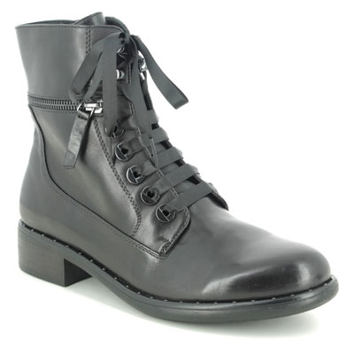 Regarde le Ciel Roxana 04 Black Leather Lace Up Investment Boots