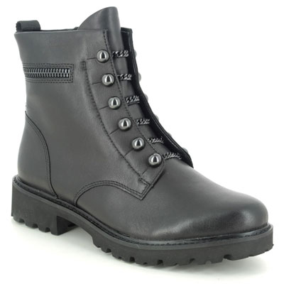 Remonte D8670-01 Docland Black Leather Ankle Boots