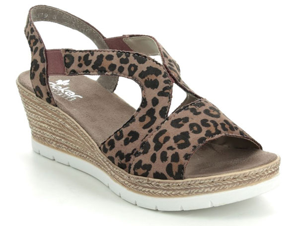 Rieker Leopard Print Wedge Sandals
