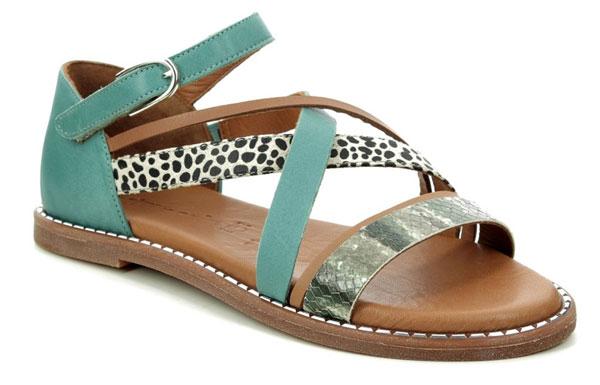 Tamaris Toffystrap Leopard Print Sandals Teal Blue