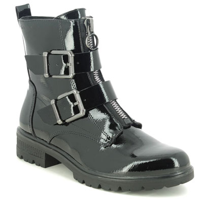 Tamaris Zeya Black Patent Ankle Boots with Buckles