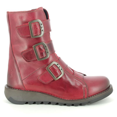 Fly London Scop Red Leather Mid Calf Boots