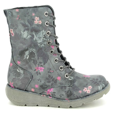 Heavenly Feet Walker Martina Black Floral Mid Calf Boots