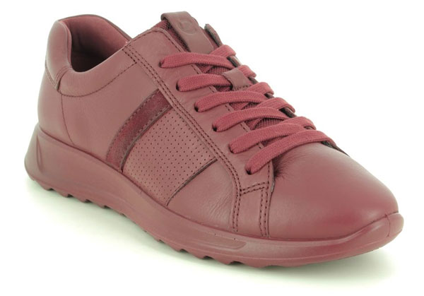 ECCO Flexure Perf Red Leather Trainers
