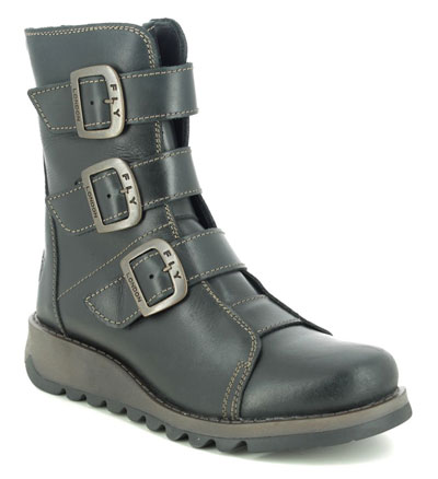 Fly London Scop Black Leather Mid Calf Boots with buckles