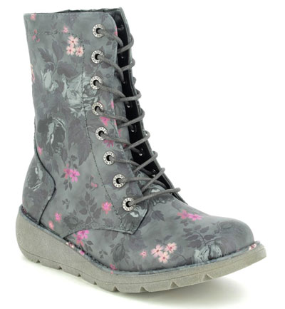 Heavenly Feet Walker Martina Black Floral lace up boots