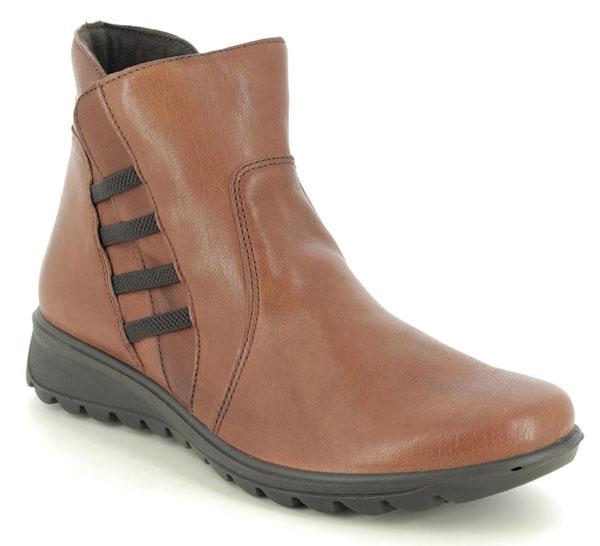 IMAC Karen Tan Leather Ankle Boots for Plantar Fasciitis