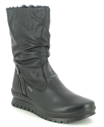 IMAC Kia Mid Tex black leather mid calf boots for winter
