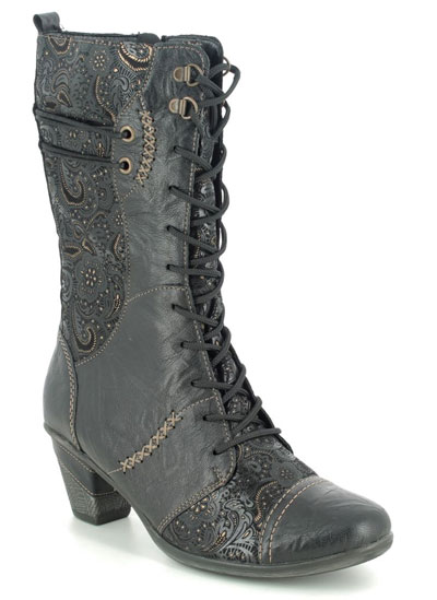 Remonte D8791-03 Annimid black leather mid calf boots with a heel