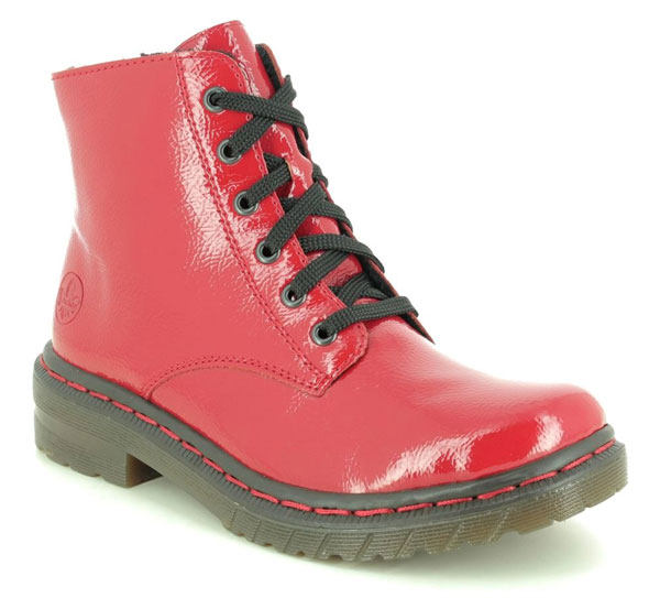 Rieker Docsy 05 Red Patent Combat Boots
