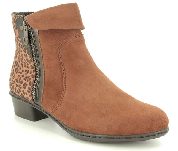 Rieker Steftone Tan Suede Ankle Boots
