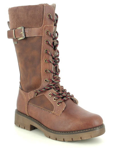 Tamaris Vina tan mid calf boots with laces