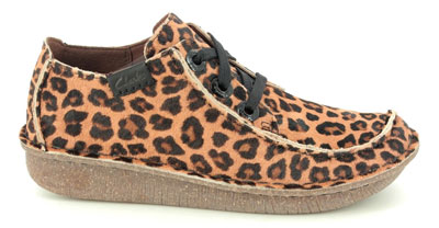 Clarks Funny Dream Tan Leopard Print Lacing Shoes