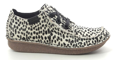 Clarks Funny Dream White Black Animal Print