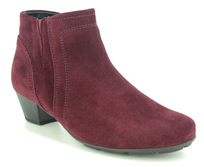 Gabor Heritage Trudy Red Suede Leather Ankle Boots