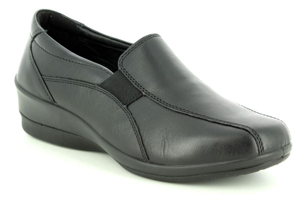 Padders Skye Black Leather Shoes for Diabetics