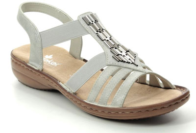 Rieker 60800-40 light grey women's comfortable sandals