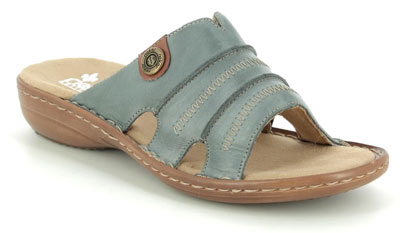 Rieker 60876-12 Denim blue ladies slide sandals