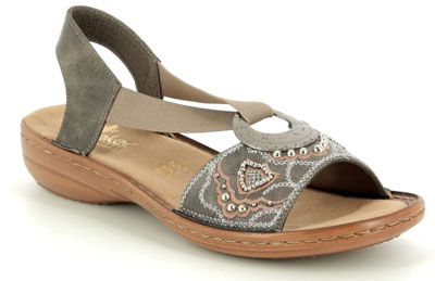 Rieker 608b9-45 Dark Taupe ladies comfy sandals