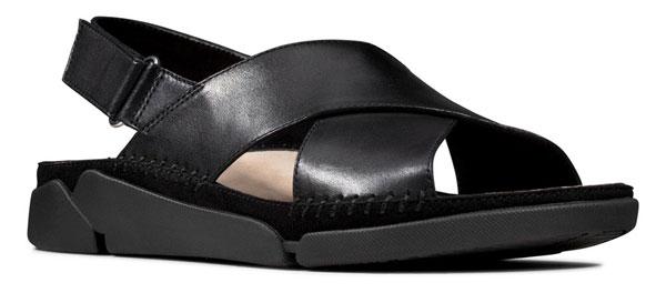 Clarks Tri Alexia Black Leather Comfortable Sandals