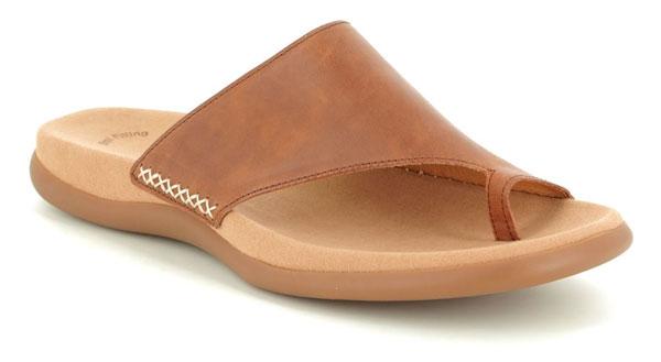 Gabor Lanzarote Tan Leather Toe Post Comfy Sandals