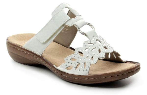 Rieker 608A6-80 Reginast White Comfy Sandals