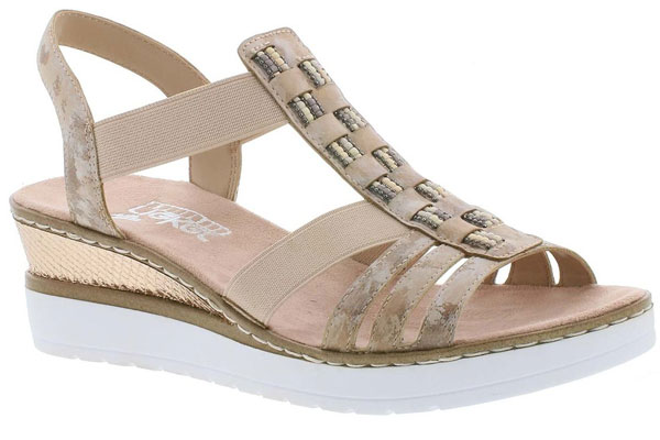 Rieker Hylife Pink Comfortable Wedge Sandals