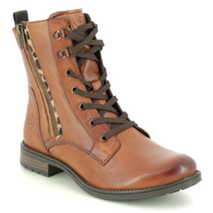 Bugatti Ronja Zip Tan Leather Lace Up Boots
