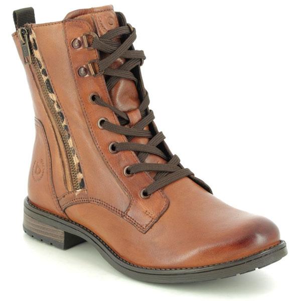 Bugatti Ronja Zip Tan Leather Lace Up Boots