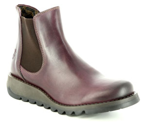 Fly London Salv Purple Leather Chelsea Boots