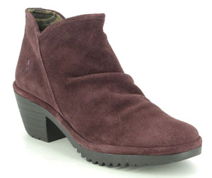 Fly London Wezo Wine Suede Ankle Boots