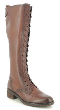 Gabor Dion Brown Leather Lace Up Knee High Boots
