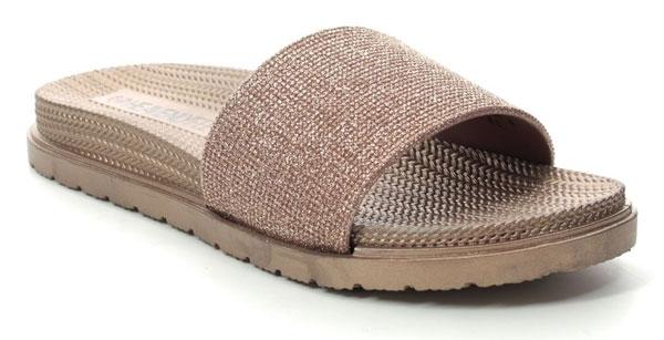 Heavenly Feet Rose Gold Slide Sandals