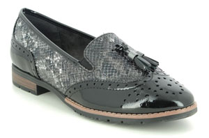Jana Tassle 91 Black Croc Loafers