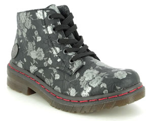 Rieker 56232-00 Docsyflo Black Floral Ankle Boots Essential Shoes