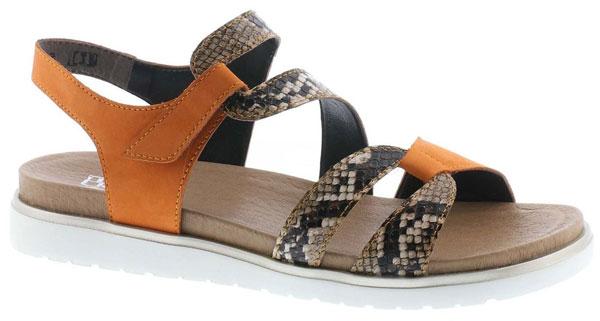 Rieker V5069-24 Orange Animal Print Sandals