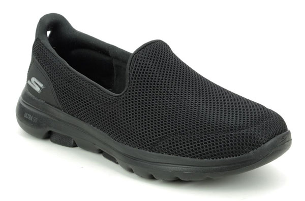 Skechers Go Walk 5 Mesh Black Slip on Work Trainers