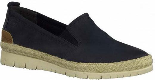 Tamaris Kaija Navy Nubuck Comfy Slip On Shoes for Holiday