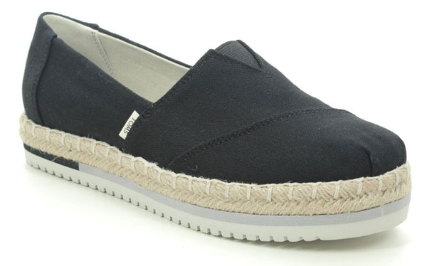 Toms Platform Black Slip On Shoes for Pregnancy