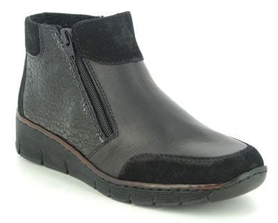 Rieker 53782-00 Black Leather Ankle Boots