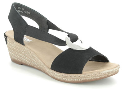 Rieker Black Wedge Espadrilles