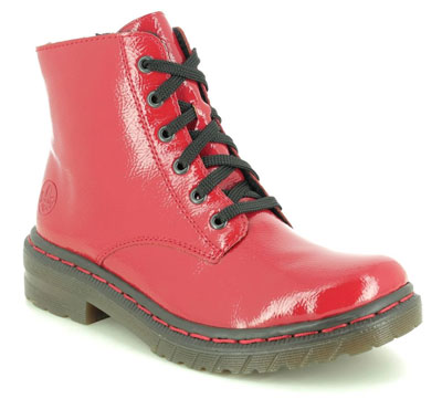 Rieker 76240-33 Red Patent Lace Up Boots